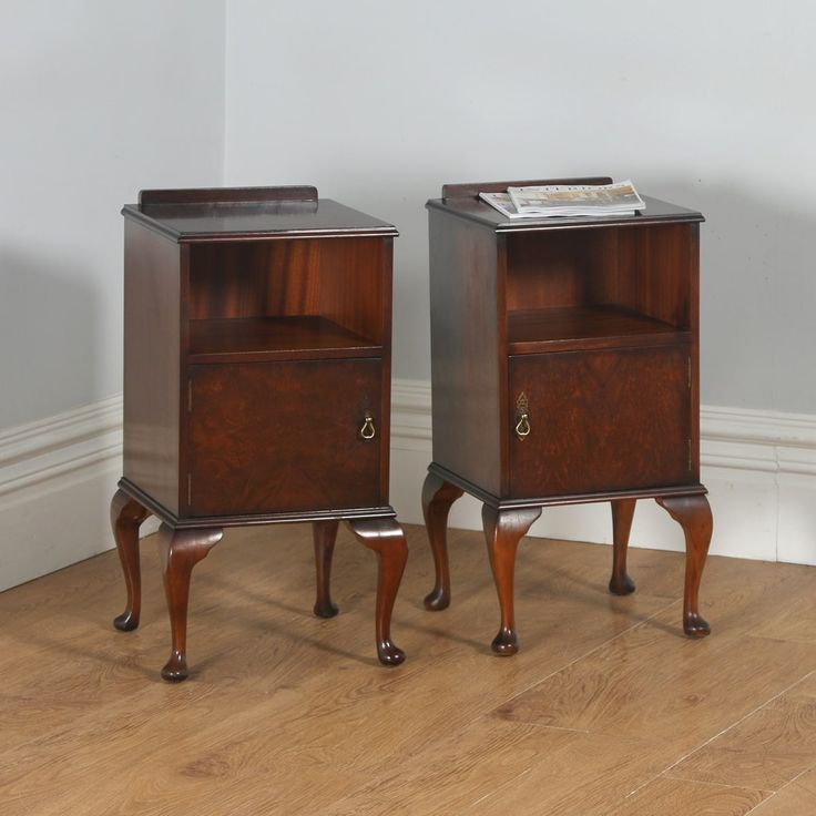 Antique English Pair of Queen Anne Style Burr Walnut Bedside Cupboards (Circa 1940)