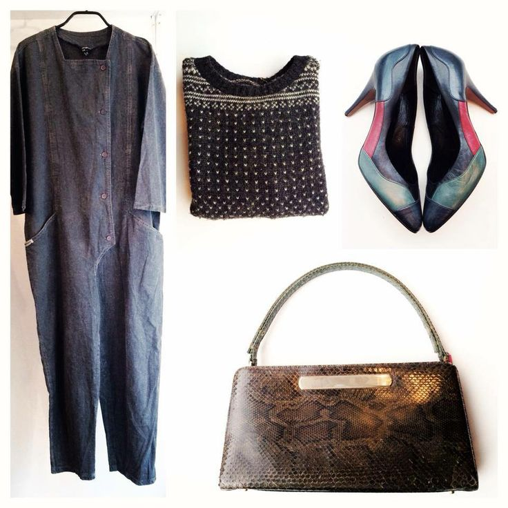 Vintage cotton/linnen jumpsuit, vintage knit, vintage stilettos, vintage snakeskin bag. All awailable in Beware of Limbo Dancers... Find us on facebook..