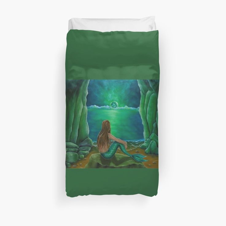 Duvet Cover, bed decor, for sale, home,accessories,bedroom,decor,cool,unique,fancy,artistic,trendy,unusual,awesome,beautiful,modern,fashionable,design,items,products,ideas,green,colorful,mermaid,coastal,scene,tail,fantasy,wildlife, redbubble