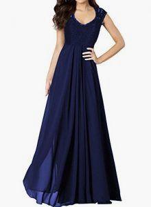Miusol Damen Aermellos V-Ausschnitt Spitzenkleid Brautjungfer Cocktailkleid Chiffon Faltenrock Langes Kleid Blau Groesse 36/38/S    #abendkleider_abiballkleider #abendkleide #cocktailkleidershow #cocktailkleidundsmoking