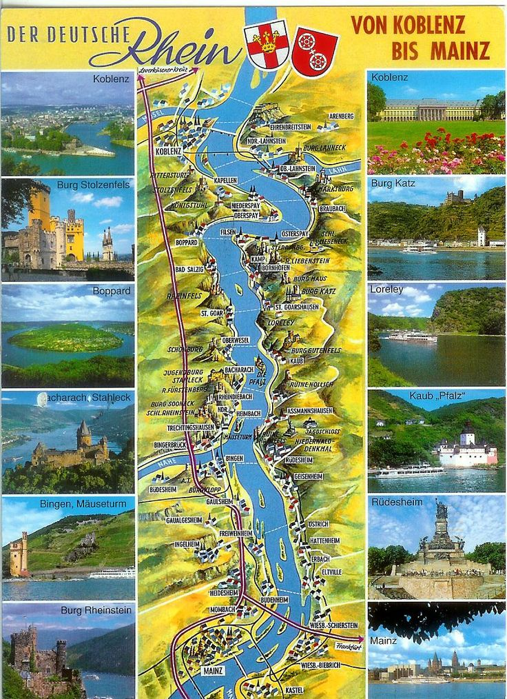 Map of the German Rhine River Valley