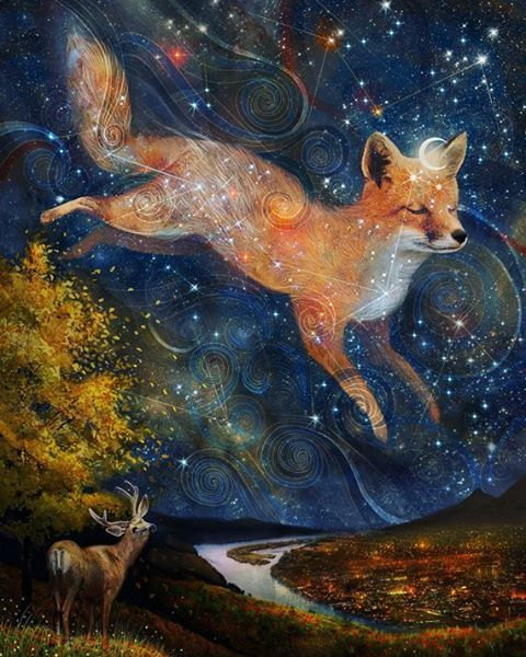 """New piece,  now finished! It's called 'the Fox in the Starlight'. It's about the bridge between the human world and the natural one... For those who have…"""