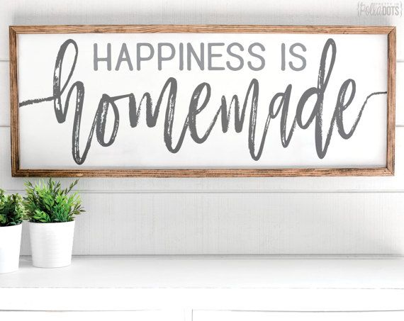 Happiness is Homemade | FREE SHIPPING | White Wood Sign | Shabby Chic | 47x18