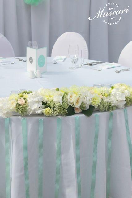 miętowo pastelowa dekoracja stołu pary młodej