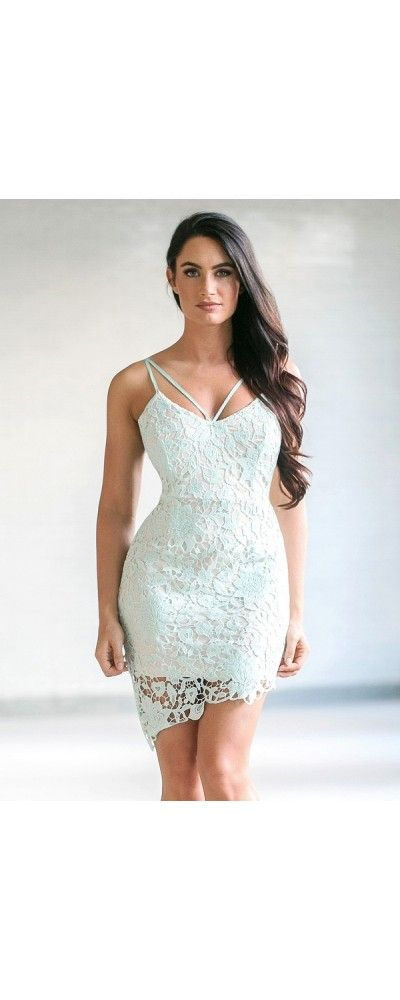Lily Boutique Live in the Mo-Mint Crochet Lace Dress in Mint, $38 Sexy Mint Lace…