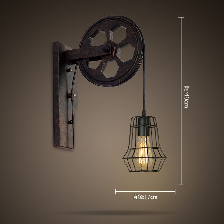 View Garden loft retro wall lamp wall lamp industrial wind lifting pulley personalized restaurant corridor wall lamp