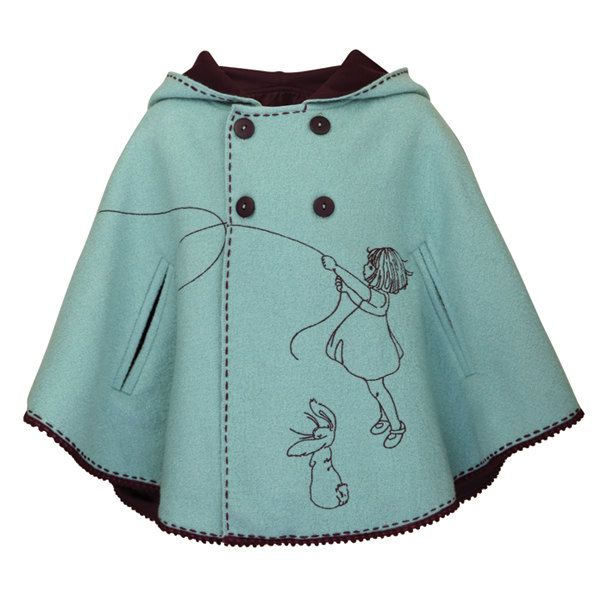 What a cute idea for a cape! Embroidered belleandboo, could be made with the Red Riding Hood Cape pattern from Little Things to Sew