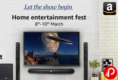Amazon brings Home Entertainment Fest from 8th – 10th March and offering Bestsellers popular Home Theater Systems, Television, Projectors, Speakers, Soundbars, DVD Players & Recorders, Blu-ray DVD Players, Streaming Media Players, Set Top Boxes and Audio Video Accessories with top brands Philips, Sony, LG, Bose, Panasonic, Microsoft and many more.  http://www.paisebachaoindia.com/home-entertainment-fest-8th-10th-march-amazon/