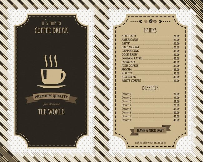 Cafe Menu Coffee Shop Menu Design Food Png And Vector With