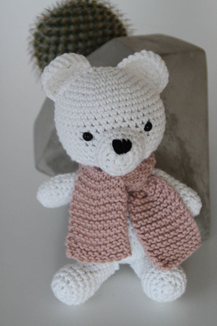 Excited to share the latest addition to my #etsy shop: Lilly the polar bear http://etsy.me/2EEZocW #toys #white #babyshower #christmas #pink #aidasofieknits #crochetbear #amigurumibear #crochettoy