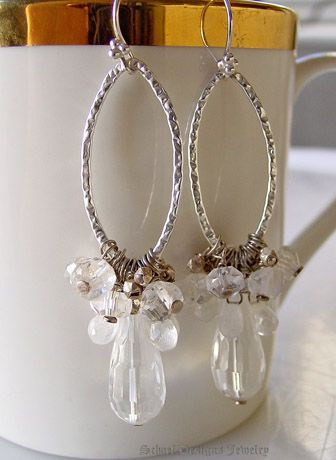 These are SO pretty!!!    Large Faceted Clear Crystal teardrops topped with sterling silver & moonstone & crystal nuggets and hammered silver link dangle earrings