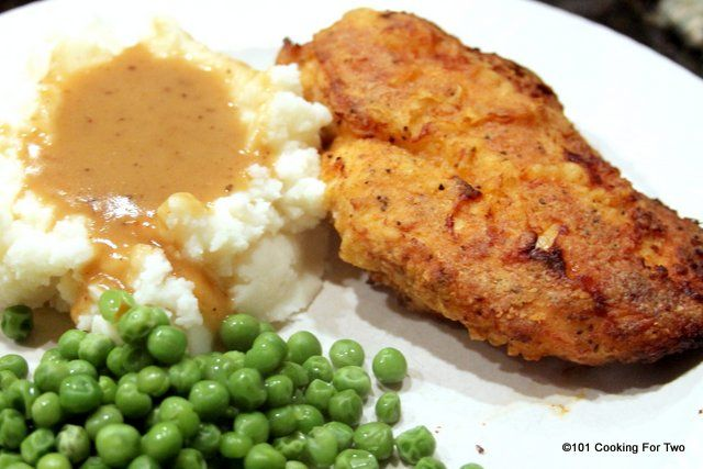 Crispy Oven Fried Chicken with Gravy from 101 Cooking For Two