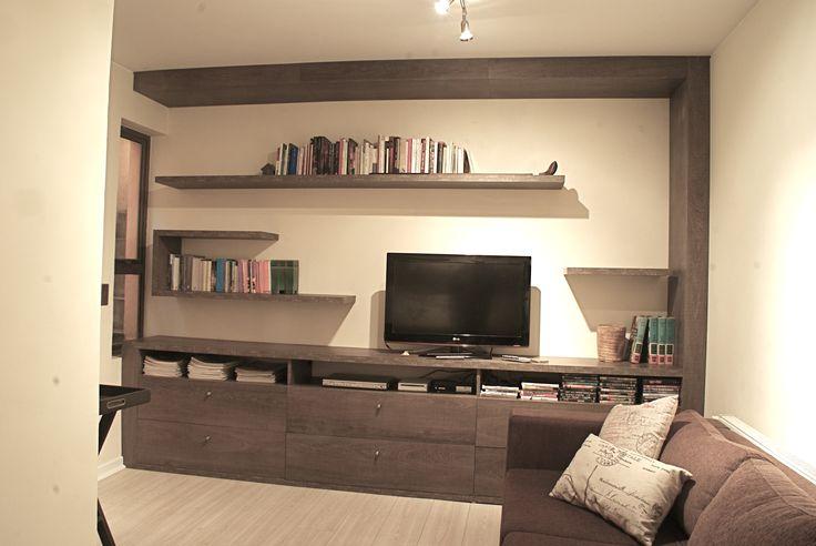 Mueble mural sala estar, diseñado y fabricado en Fibromelamin de Masisa.