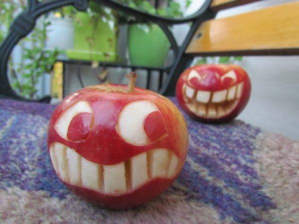 Obst dekorativ schnitzen apfel kunst toll