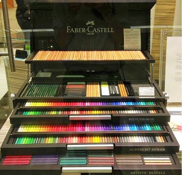 Faber-Castell 250th Anniversary! Special Editions  Contains: -120 POLYCHROMOS artists' color pencils -120 ALBRECHT DURER artists' watercolor pencils -120 POLYCHROMOS artists' pastels - 60 PITT pastel pencils -15 CASTELL 9000 assorted from 8B to 6H - Complete PITT Monochrome assortment - High-quality watercolor brush in French style - High-end china water cup - 3 blending paper stumps - Twin metal sharpener - Kneadable eraser - Vinyl eraser - Eraser pencil - Sandpaper block  Price: $1700 USD