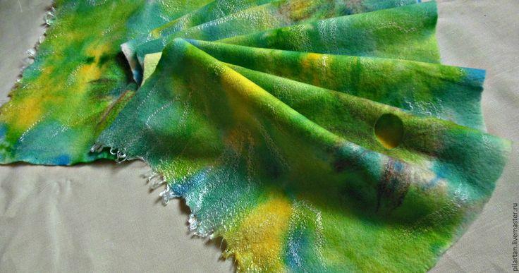 Купить шарф женский валяный яркий зеленый Летнее настроение. - шарф, шерстяной шарф