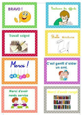 cartes positives de récompense pour les CP - Véro à l'école