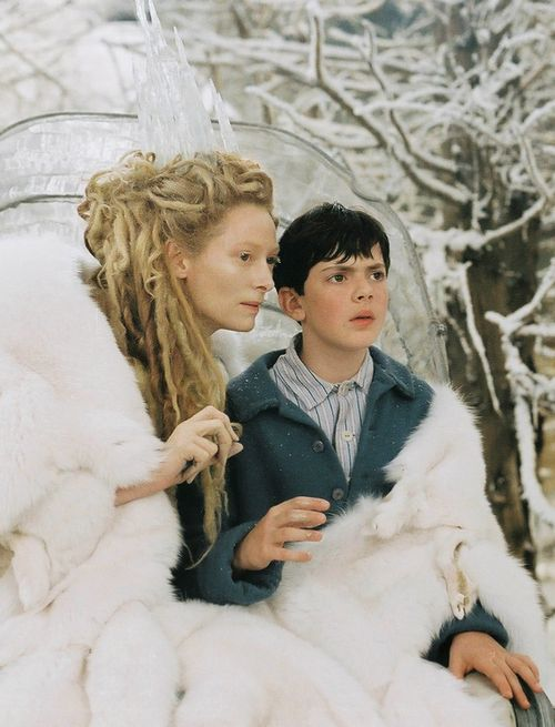 Edmund and Jadis, the White Witch. One seductive and truly scary lady.