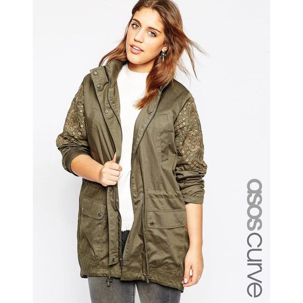 ASOS CURVE Embellished Festival Parka ($71) ❤ liked on Polyvore featuring outerwear, coats, khaki, plus size, khaki parka, womens plus size coats, womens plus coats, plus size parka and brown coat