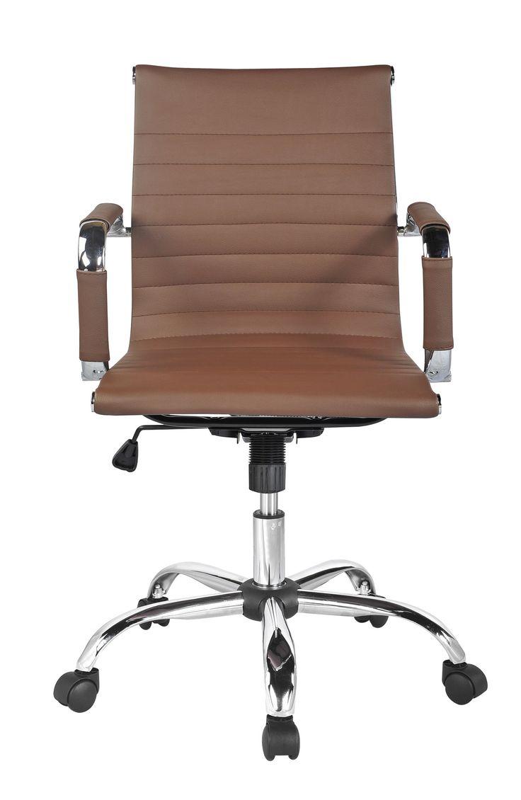 Tan leather office chair - Idalia Mid Back Desk Chair