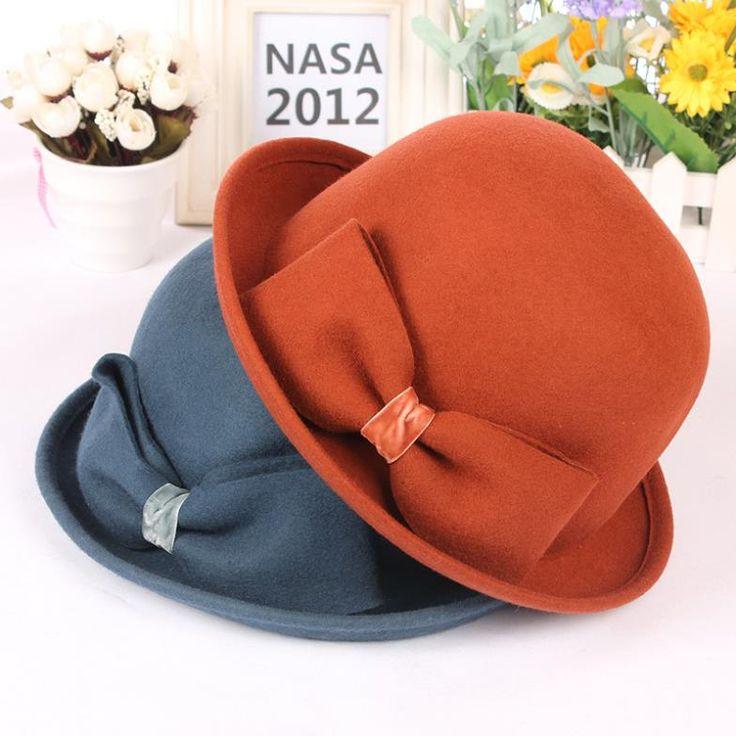 Lana sombreros de ala sombreros del cubo del cubo del dobladillo del roll-up del sombrero de las mujeres del sombrero del arco del sombrero de las mujeres de la vendimia