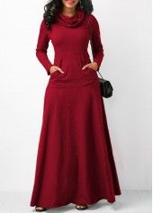Cowl Neck Wine Red Long Sleeve Maxi Dress | Rosewe.com - USD $31.88