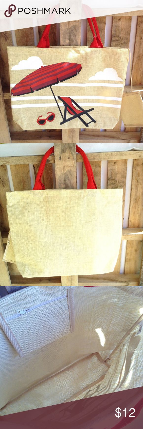 "Jute beach tote ☀️👙 Summer's coming!! 👏🏻☀️🏊🏻 Tote has inside and attached zippered pockets. The attached pocket is 6 x 6. Tote is 16"" tall, 21"" wide and 4.5"" wide bottom, and no worries with wet items! tote and pockets have plastic coating! 👍🏻 Bags Totes"