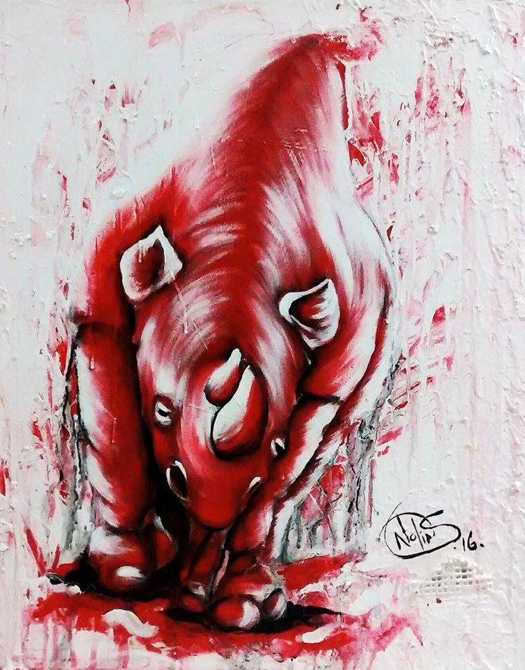 Témérité (Rhino) Acrylique sur toile 22x28