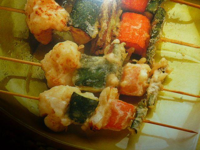 Spiedini vegetariani con tempura
