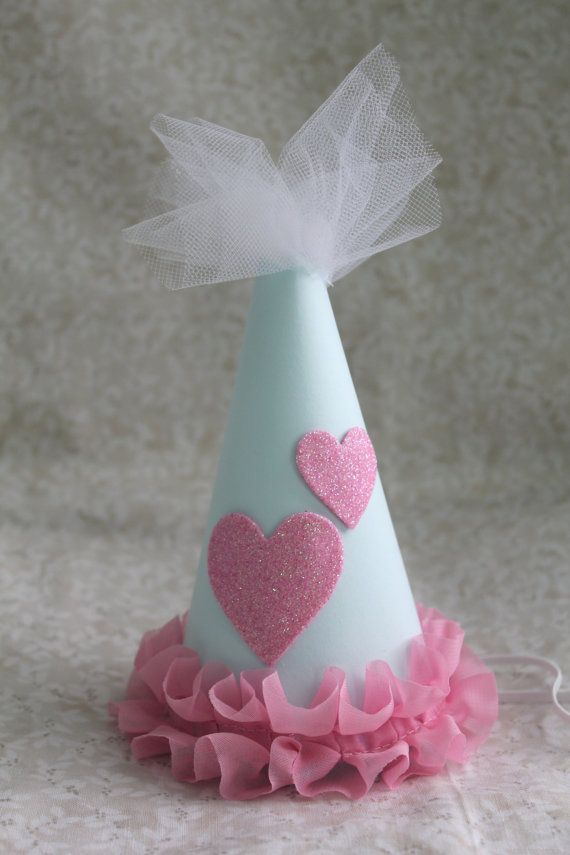 Light Pale Blue Mini Birthday Party Cake Smash Hat / Headband with Pink Ruffle Trim and Pink Glitter Hearts  -Customizable-