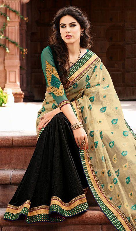 Beige and Black Bhagalpuri Silk Net Half N Half Saree Price: Usa Dollar $106, British UK Pound £63, Euro78, Canada CA$115 , Indian Rs5724.