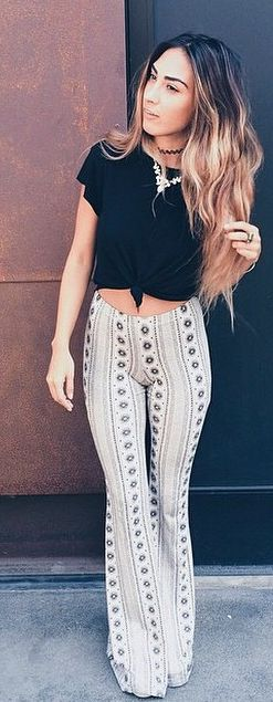 Lira Farrah Bell Pants // feature an on trend all over print and bell shaped bottoms to suit your boho beach chic style