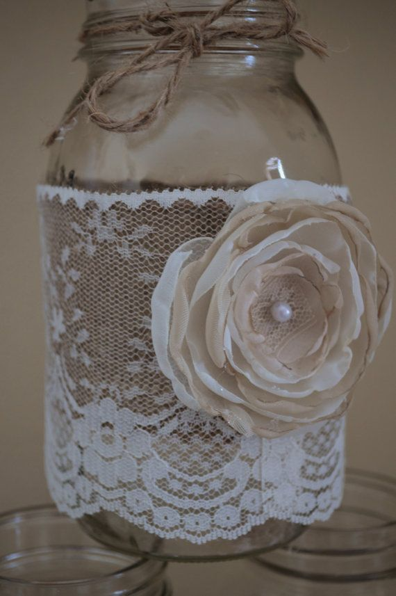 10 Shabby Chic Mason Jar Sleeves Rustic by RusticWithElegance