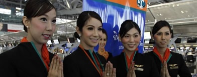 Transsexual Thai air hostesses: gimmick or equality?   By Amelie Bottollier-Depois | AFP News  http://x2t.com/136608    With her crisp uniform, immaculate makeup and hair swept up, Mew looks like any other air hostess, but she's one of a handful of Thai transsexuals blazing a trail in the skies.