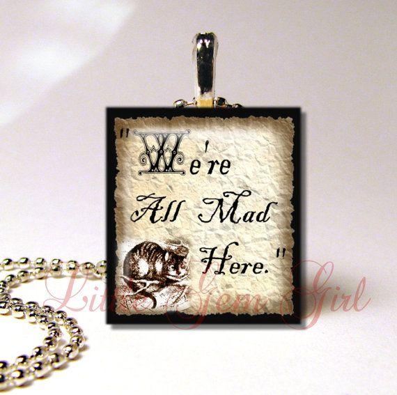 Vintage Alice in Wonderland Cheshire Cat Quote by LittleGemGirl, $8.00