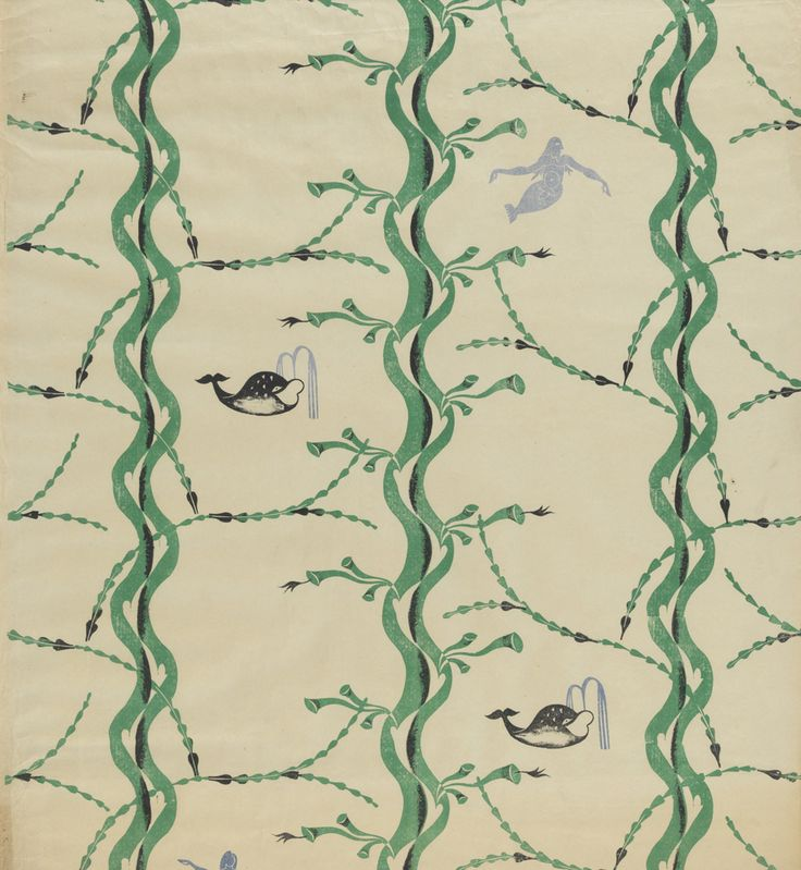 Edward Bawden (1903-1989). Mermaid and Whale. Wallpaper pattern.