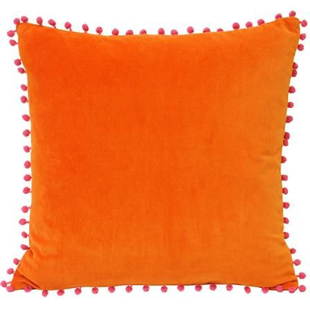 Orange Cushion with Pink Pom Poms | ACHICA