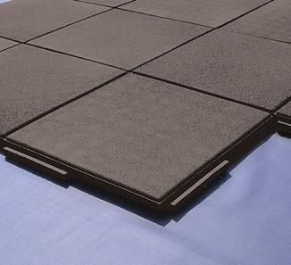 Interlocking Rubber Deck Paver Black 24 X 24 X 2 Inch In
