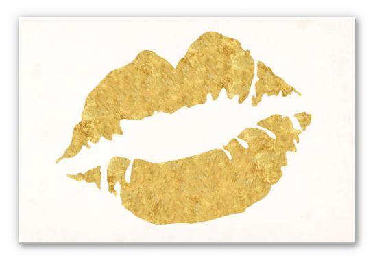 - Moederdag - Wandbord Gouden Lippen, 30x20cm, vanaf 22,90 €