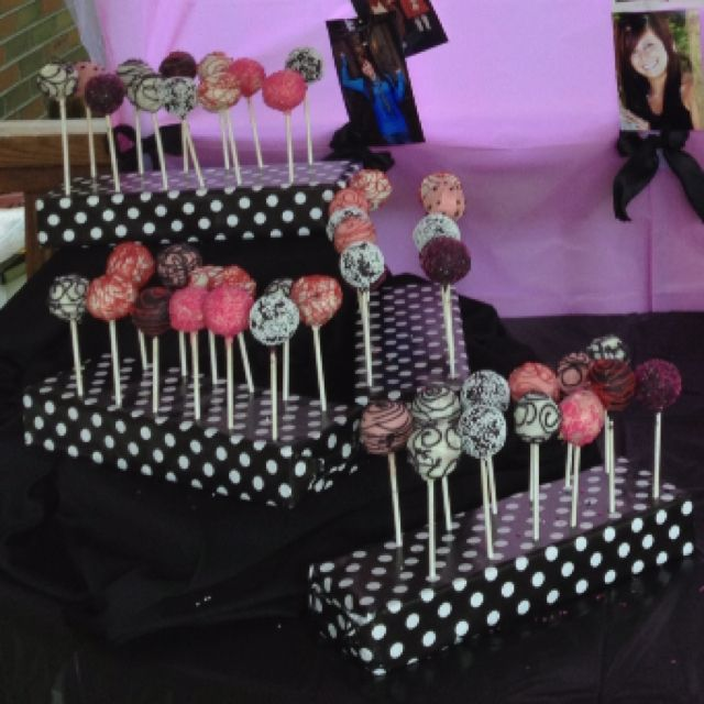 Use for lollipops for Ethan. Styrofoam wrapped in wrapping paper for cake pop holder! CUTE!!