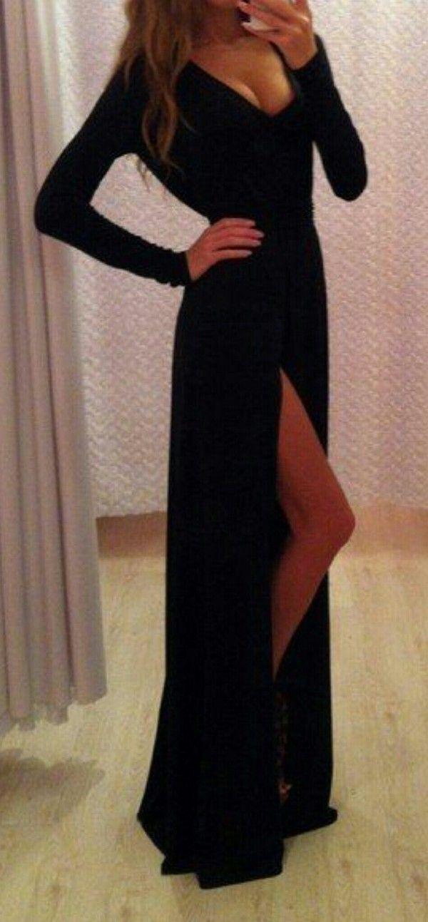 Get this dress on @Wheretoget or see more #dress #black #black_dress #gap_dress #maxi_dress #long_sleeve #little_black_dress