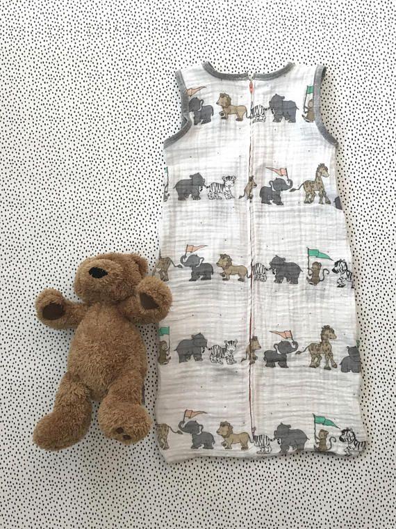 Little parade of animals muslin sleepsack