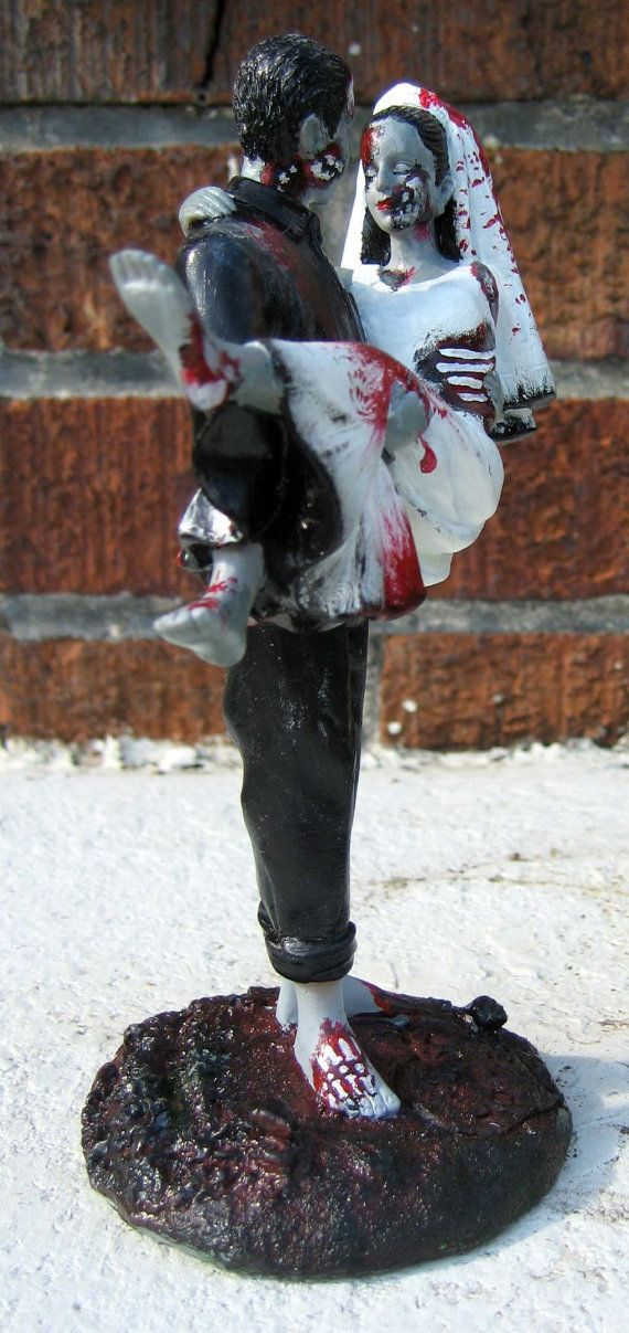 "Halloween Wedding Ideas  - Zombie Cake Topper - Perfect for any zombie wedding extravaganza appx 7 inches tall and the size of an average wedding topper, hand painted with care detail. Custom hair color/ tie colors for no additional cost to further personalize your very own zombie cake topper! By ""Variable28"" On Etsy. $75"
