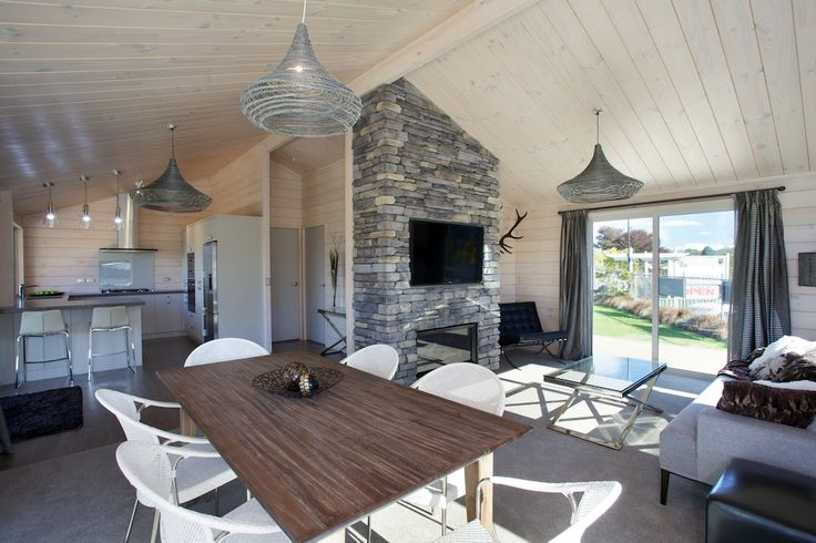Lockwood show home in Taupo, great small home plan called The Stewart. Modern solid wood with blonded timber and stone feature wall