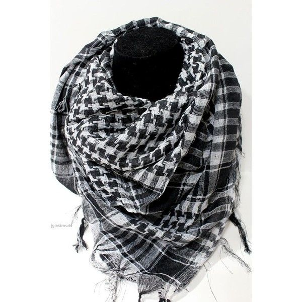 Arab Shemagh Keffiyeh Military Tactical Palestine Light Scarf Shawl... via Polyvore featuring accessories, scarves, wrap scarves, military scarves, wrap shawl, military fashion and shawls scarves