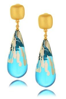 Kenneth Jay Lane's Ocean Gold Drop Earrings