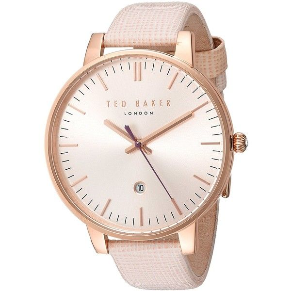 Ted Baker Women's 'Classic' Quartz Stainless Steel and Leather Dress... ($152) ❤ liked on Polyvore featuring jewelry, watches, stainless steel watches, dress watch, quartz dress watch, pink leather watches and leather jewelry