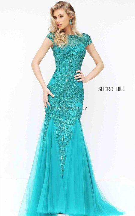 Jade Fitted Sleeved Sherri Hill 50516 Homecoming Dress