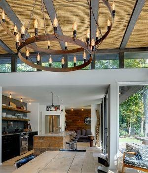 That ceiling treatment is so cool.  Amagansett Beach House - Rawlins Calderone Design