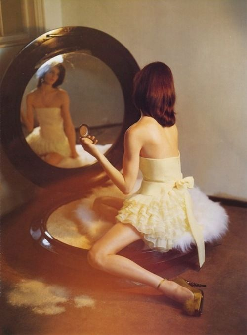 I love the giant powder compact with the girl sitting on the puff....so adorable, by Tim Walker...... a Tim Walker rabbit hole